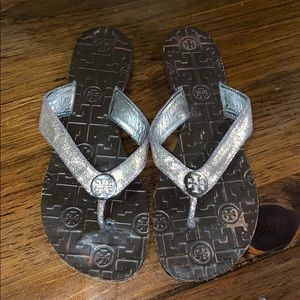 Tory Burch silver thong sandals size 9
